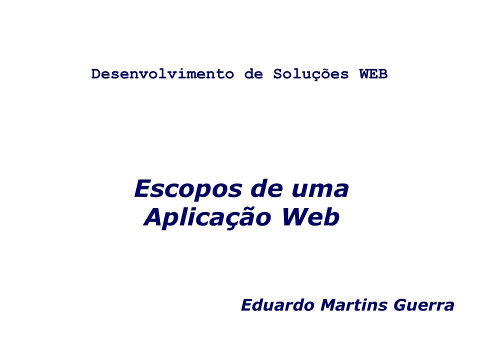 Escopos de uma Aplicação Web Eduardo Martins Guerra Desenvolvimento de Soluções WEB