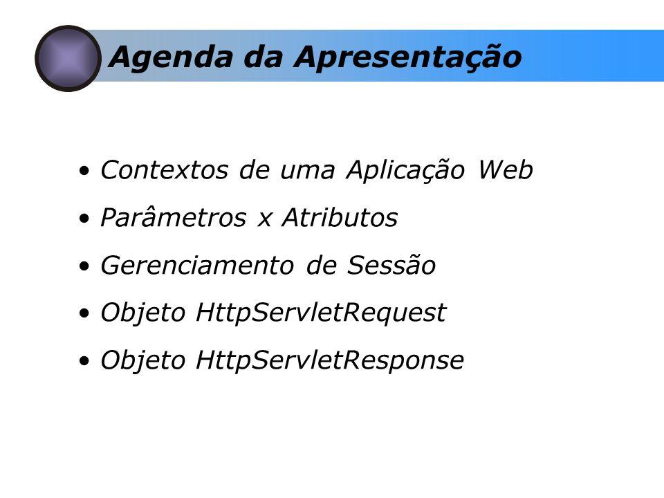 Contextos de uma Aplicação Web Parâmetros x Atributos Gerenciamento de Sessão Objeto HttpServletRequest Objeto HttpServletResponse Agenda da Apresenta