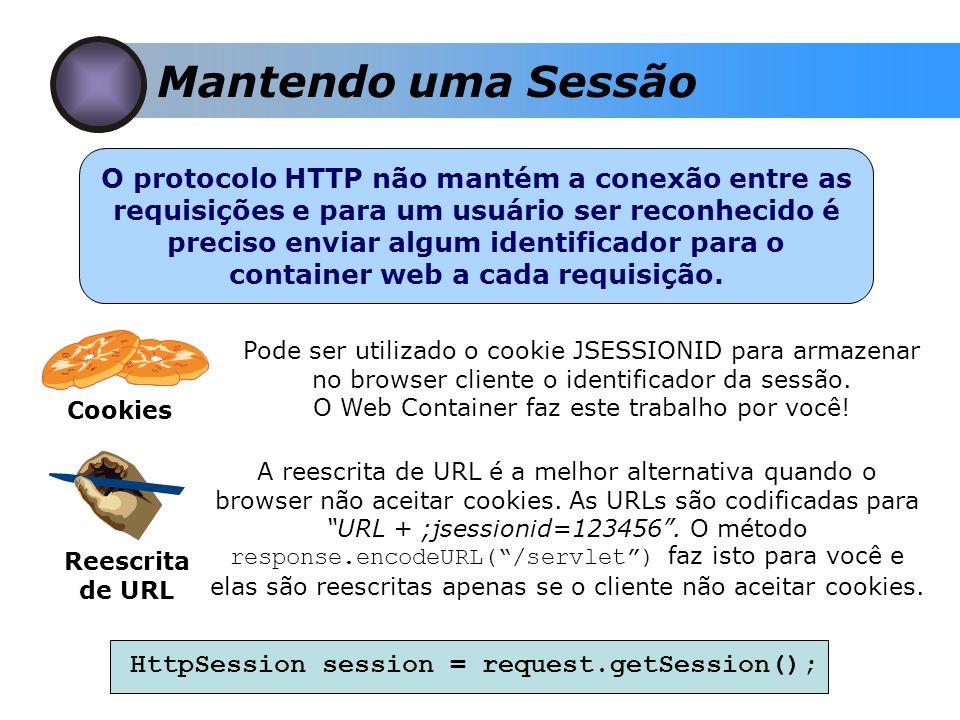 Mantendo uma Sessão O protocolo HTTP não mantém a conexão entre as requisições e para um usuário ser reconhecido é preciso enviar algum identificador