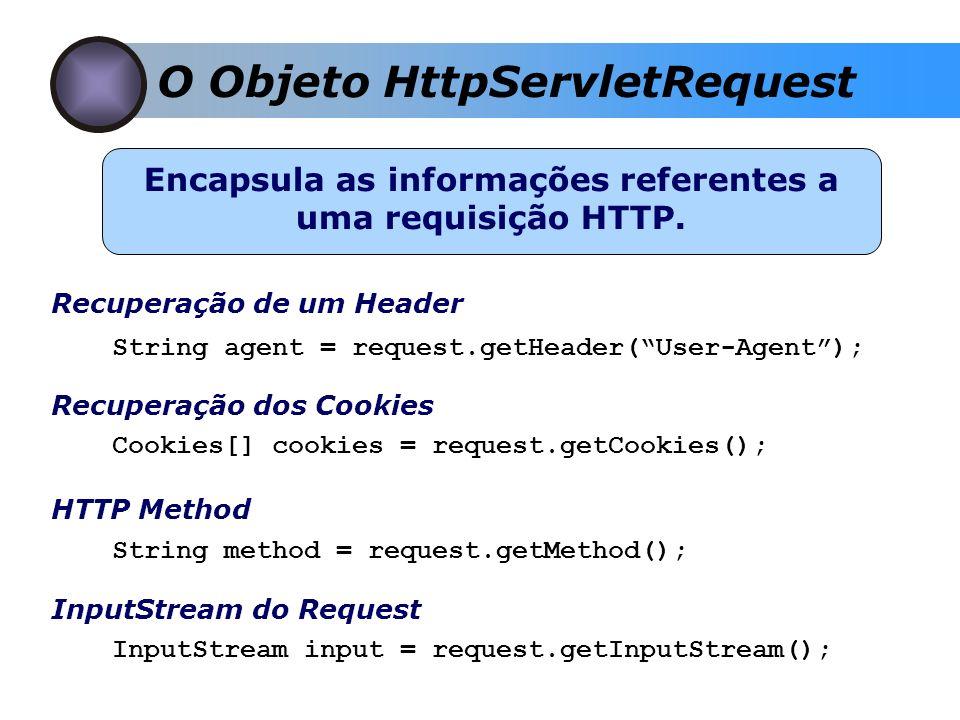 O Objeto HttpServletRequest Encapsula as informações referentes a uma requisição HTTP. Recuperação de um Header String agent = request.getHeader(User-