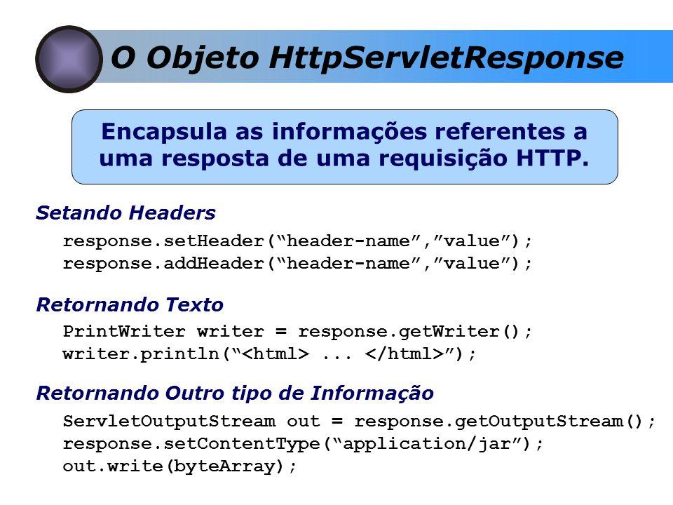 O Objeto HttpServletResponse Encapsula as informações referentes a uma resposta de uma requisição HTTP. Retornando Texto PrintWriter writer = response