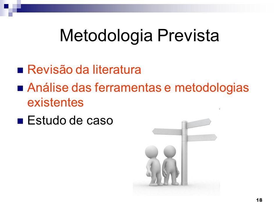 18 Metodologia Prevista Revisão da literatura Análise das ferramentas e metodologias existentes Estudo de caso