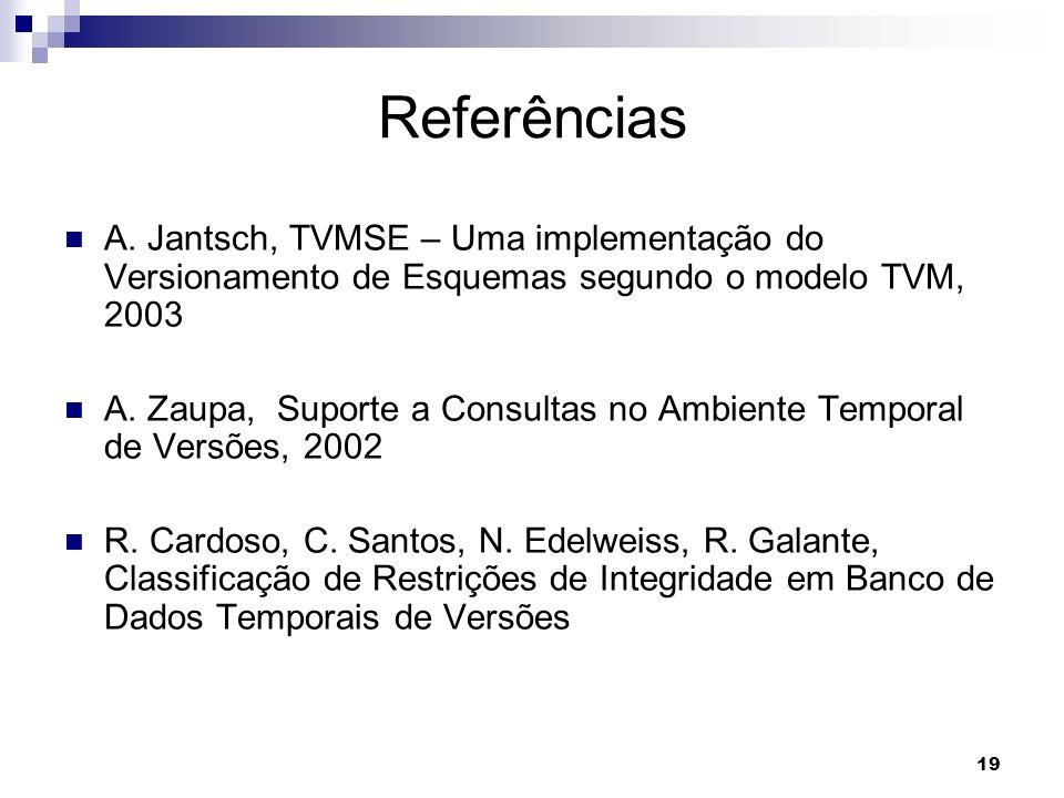 19 Referências A. Jantsch, TVMSE – Uma implementação do Versionamento de Esquemas segundo o modelo TVM, 2003 A. Zaupa, Suporte a Consultas no Ambiente