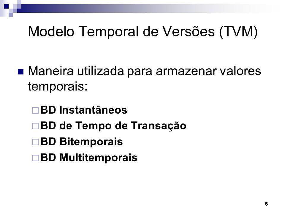 6 Modelo Temporal de Versões (TVM) Maneira utilizada para armazenar valores temporais: BD Instantâneos BD de Tempo de Transação BD Bitemporais BD Mult