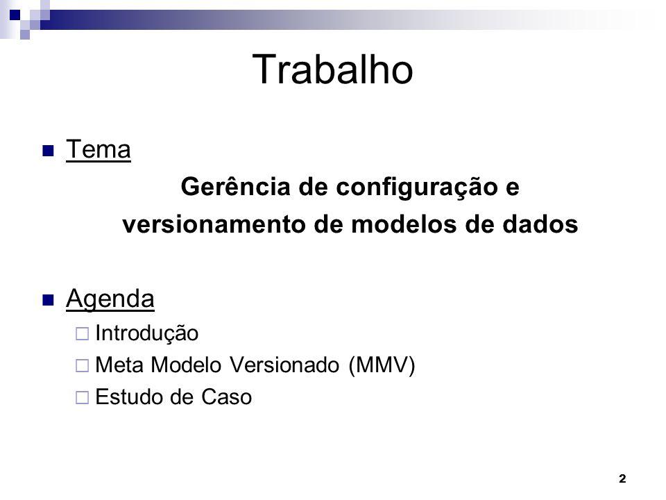 2 Trabalho Tema Gerência de configuração e versionamento de modelos de dados Agenda Introdução Meta Modelo Versionado (MMV) Estudo de Caso