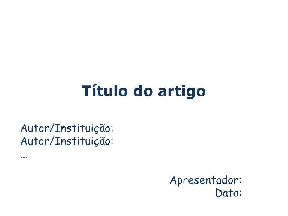 Sobre os autores Usando um slide para cada autor instituição de origem área de interesse Cite outro artigo do mesmo autor (sozinho ou com co-autores diferentes), em qualquer conferência ou periódico