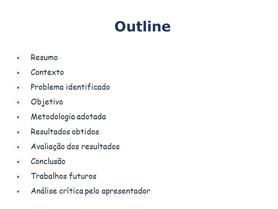 Outline Resumo Contexto Problema identificado Objetivo Metodologia adotada Resultados obtidos Avaliação dos resultados Conclusão Trabalhos futuros Análise crítica pelo apresentador