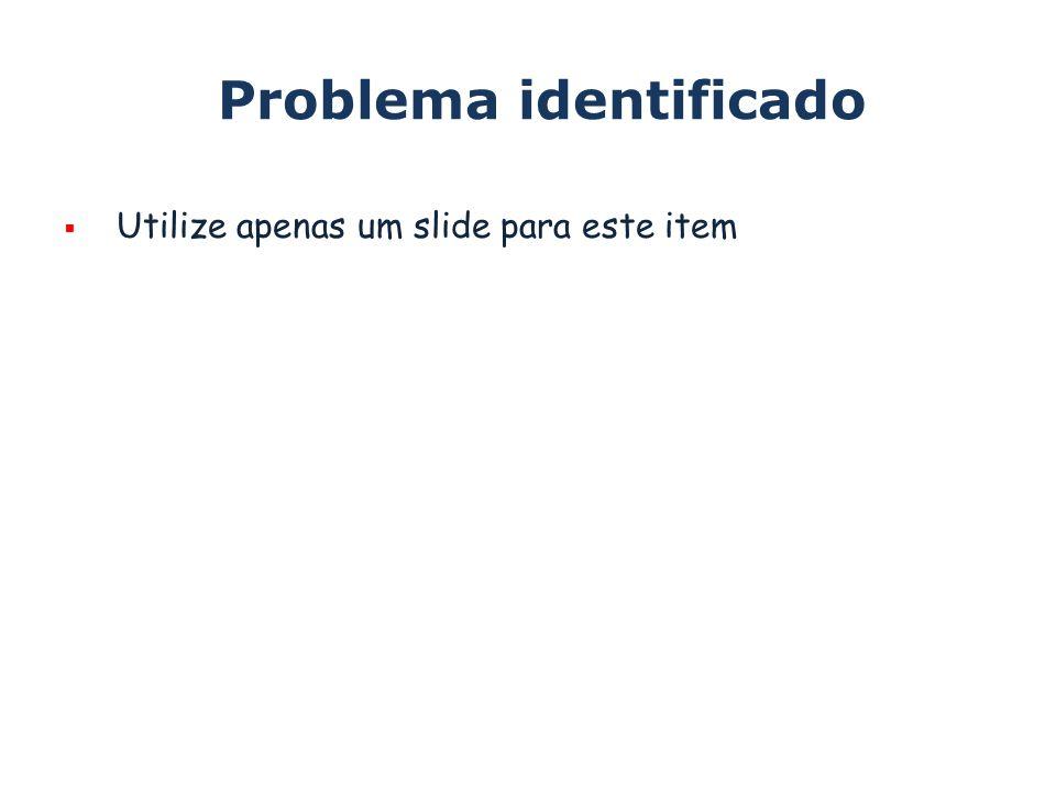 Problema identificado Utilize apenas um slide para este item