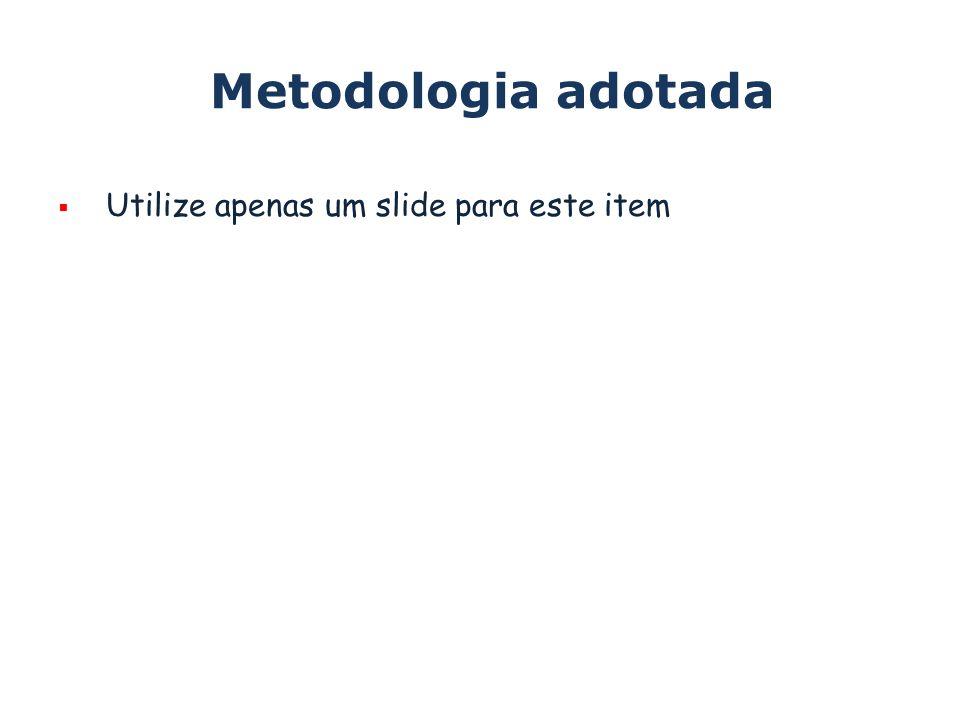 Metodologia adotada Utilize apenas um slide para este item