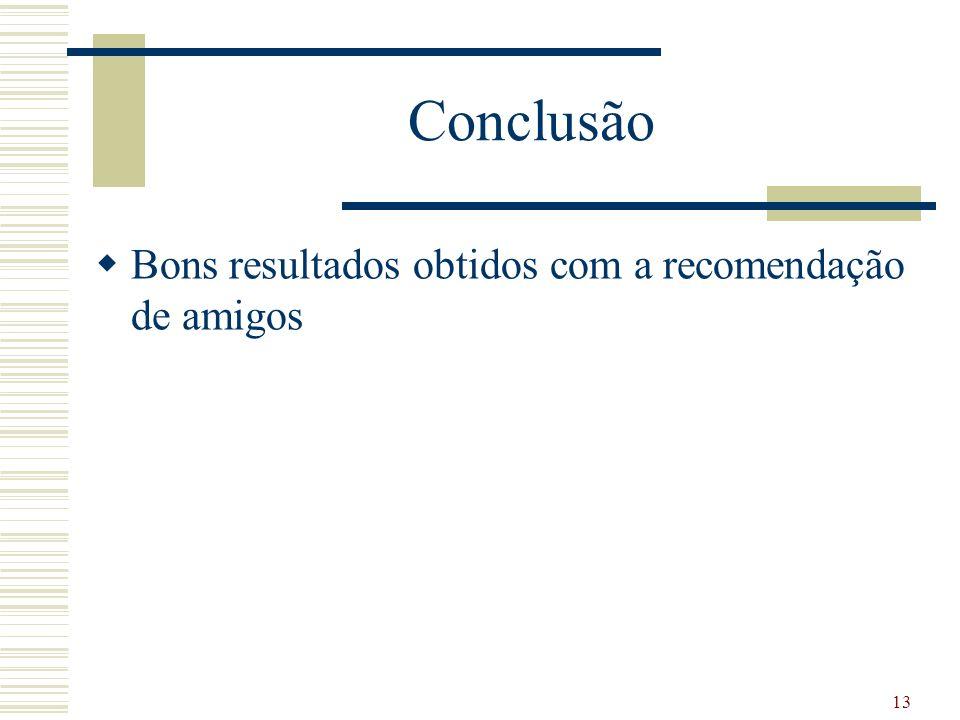 Conclusão Bons resultados obtidos com a recomendação de amigos 13