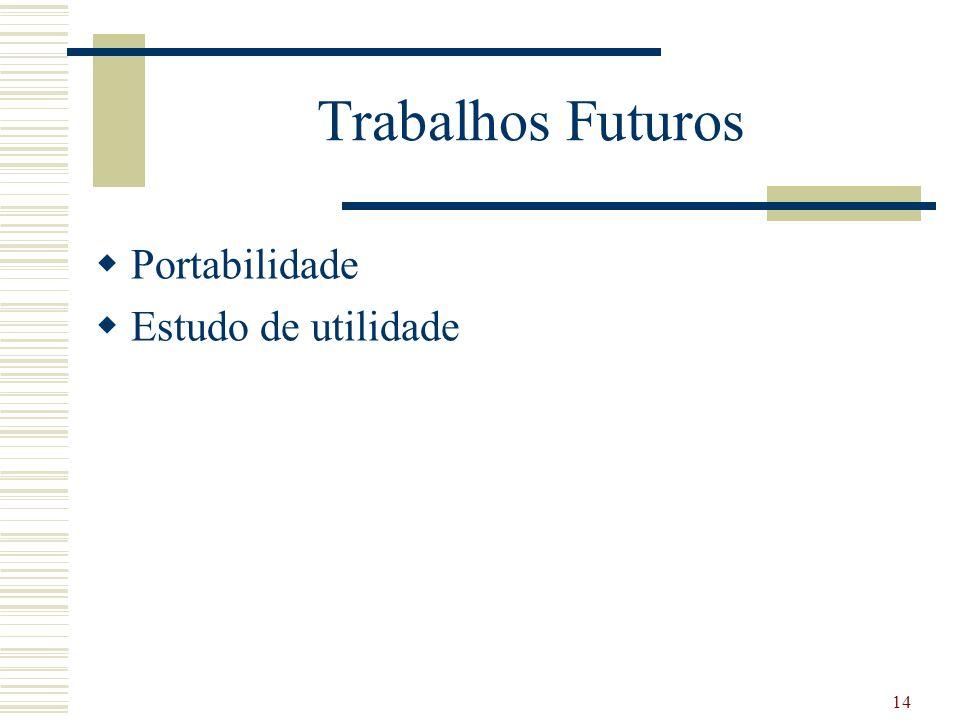 Trabalhos Futuros Portabilidade Estudo de utilidade 14