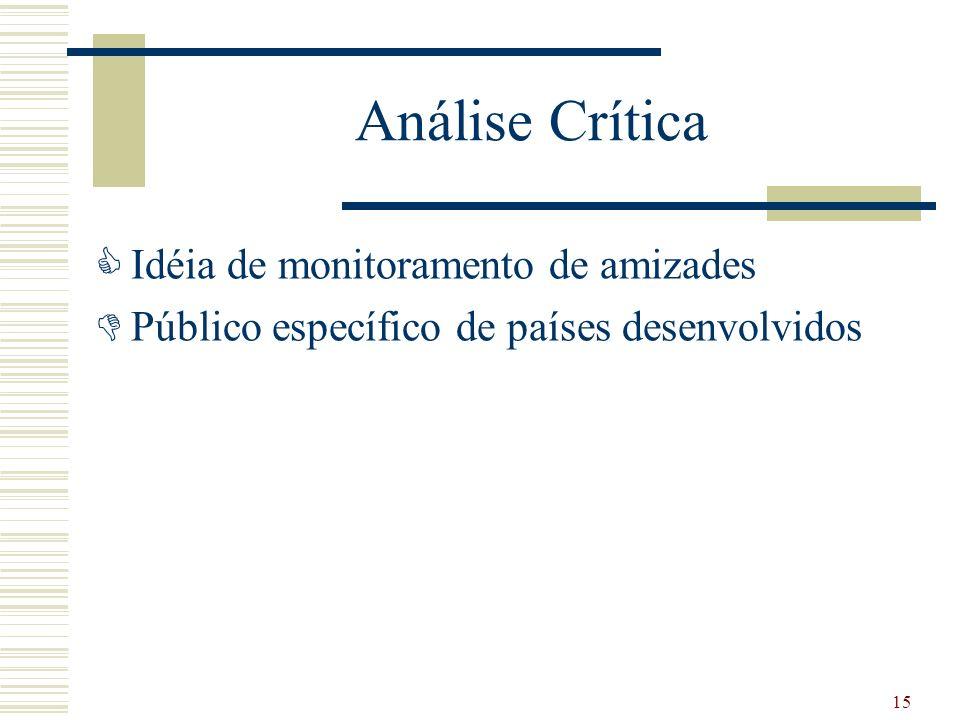 Análise Crítica Idéia de monitoramento de amizades Público específico de países desenvolvidos 15