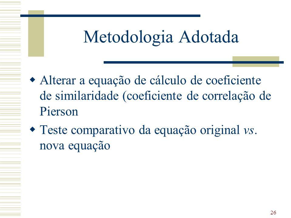 Metodologia Adotada Alterar a equação de cálculo de coeficiente de similaridade (coeficiente de correlação de Pierson Teste comparativo da equação original vs.