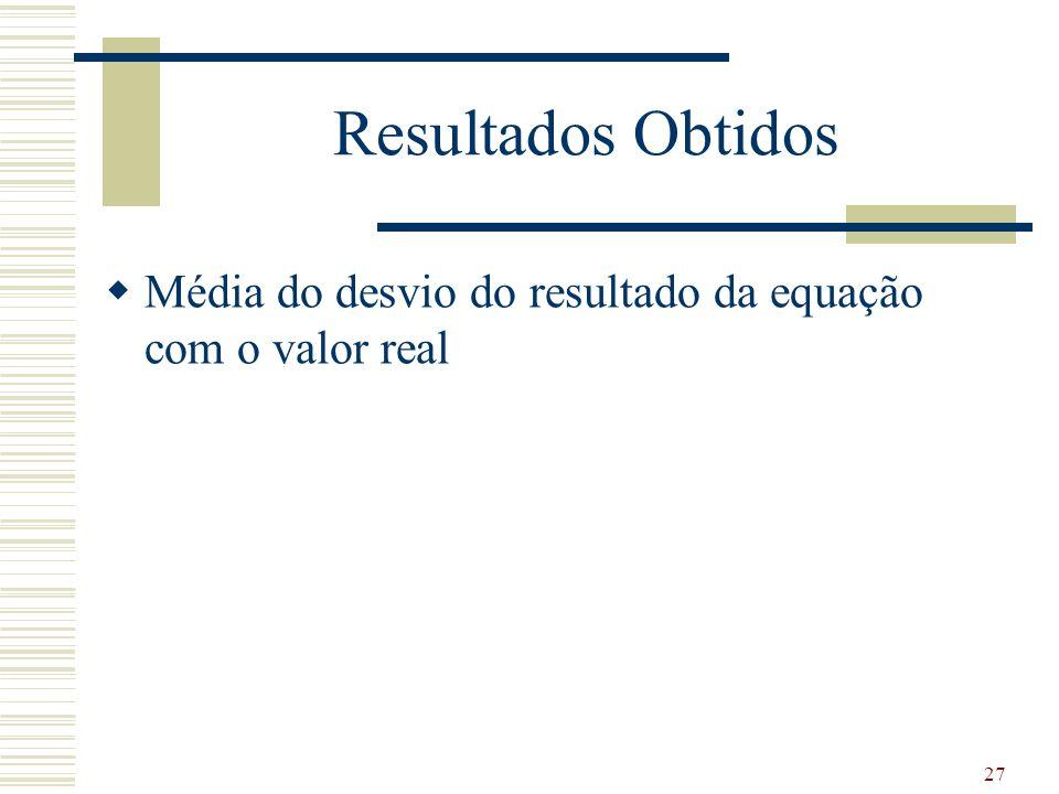 Resultados Obtidos Média do desvio do resultado da equação com o valor real 27