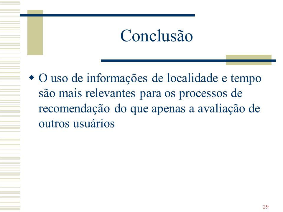 Conclusão O uso de informações de localidade e tempo são mais relevantes para os processos de recomendação do que apenas a avaliação de outros usuários 29