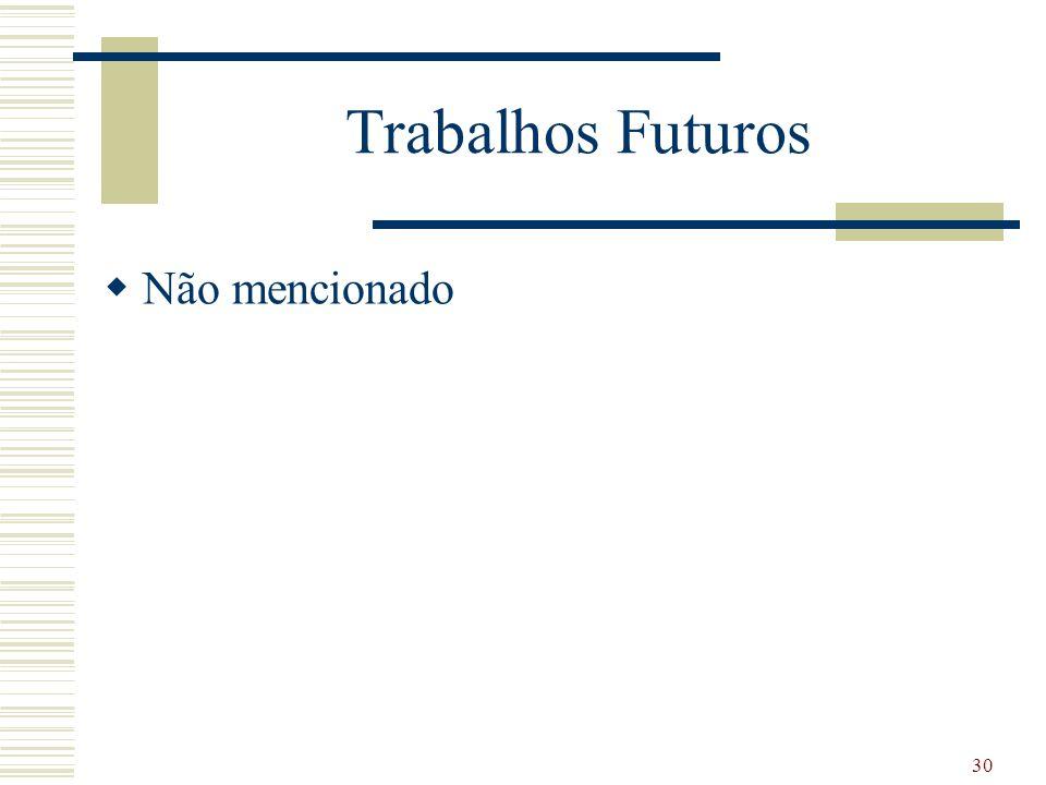 Trabalhos Futuros Não mencionado 30