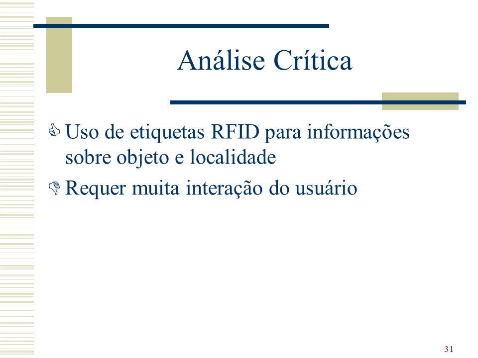 Análise Crítica Uso de etiquetas RFID para informações sobre objeto e localidade Requer muita interação do usuário 31