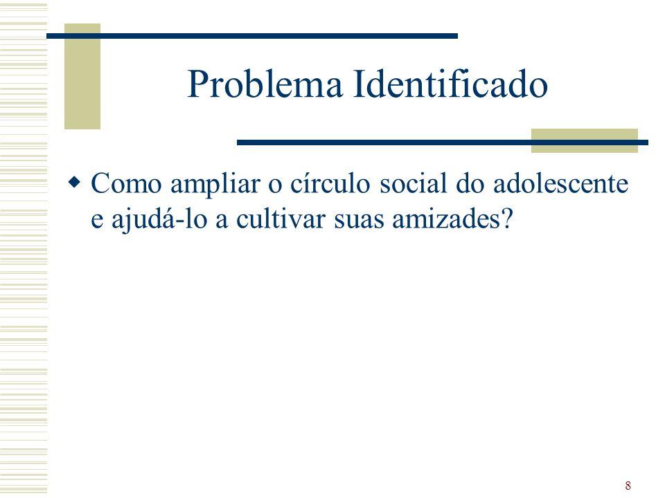 Problema Identificado Como ampliar o círculo social do adolescente e ajudá-lo a cultivar suas amizades.