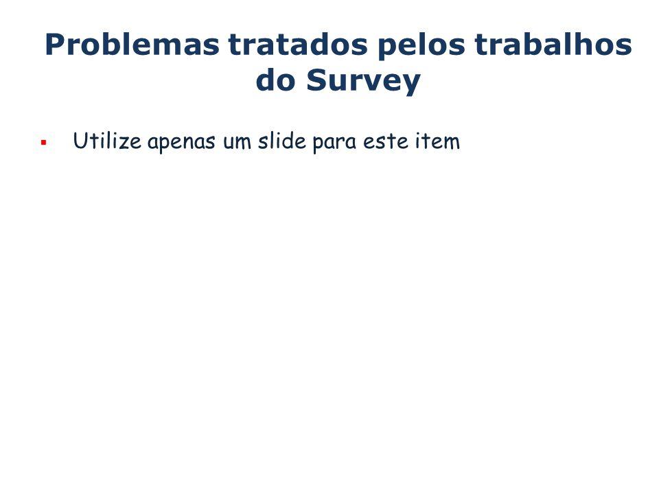 Problemas tratados pelos trabalhos do Survey Utilize apenas um slide para este item