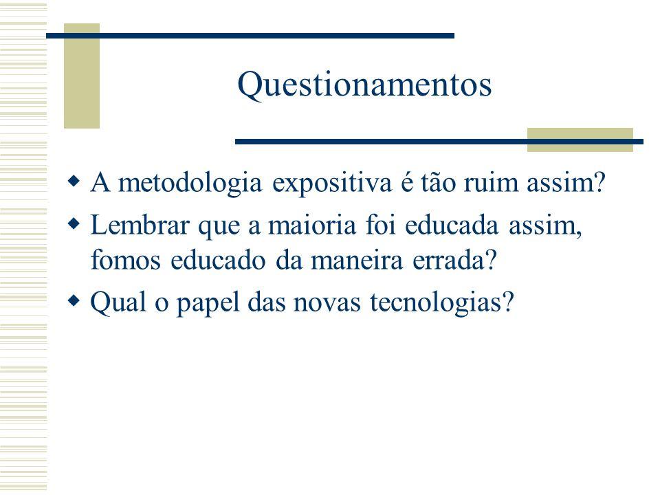 Questionamentos A metodologia expositiva é tão ruim assim? Lembrar que a maioria foi educada assim, fomos educado da maneira errada? Qual o papel das
