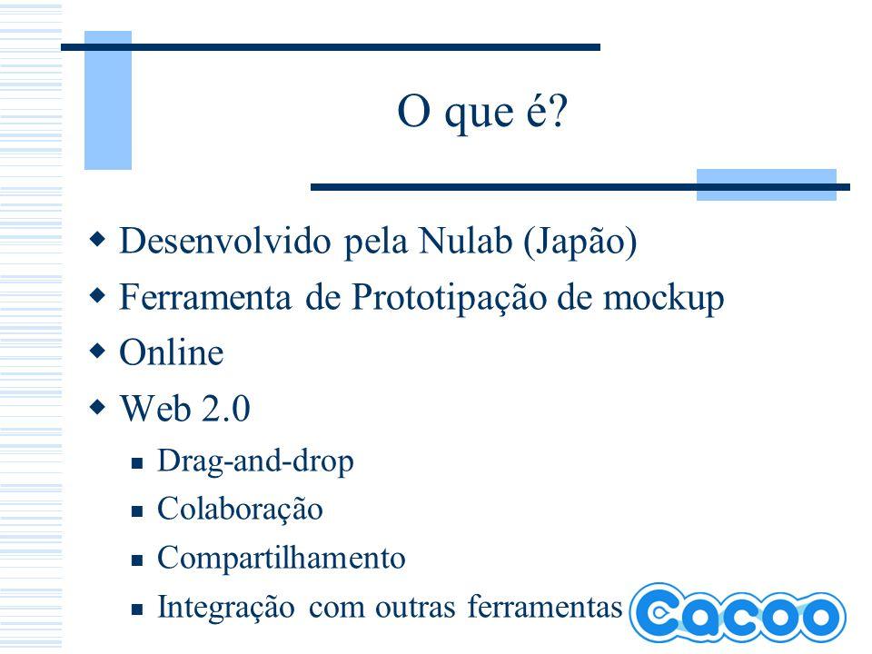 O que é? Desenvolvido pela Nulab (Japão) Ferramenta de Prototipação de mockup Online Web 2.0 Drag-and-drop Colaboração Compartilhamento Integração com