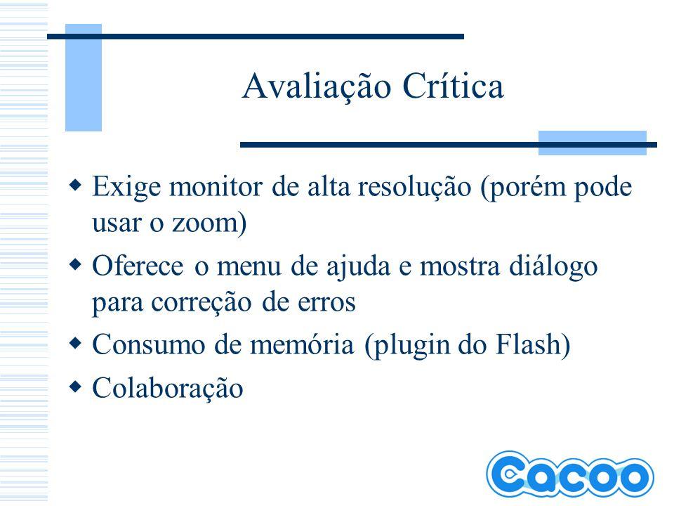 Avaliação Crítica Exige monitor de alta resolução (porém pode usar o zoom) Oferece o menu de ajuda e mostra diálogo para correção de erros Consumo de