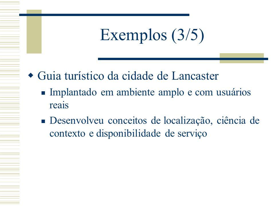 Exemplos (3/5) Guia turístico da cidade de Lancaster Implantado em ambiente amplo e com usuários reais Desenvolveu conceitos de localização, ciência de contexto e disponibilidade de serviço