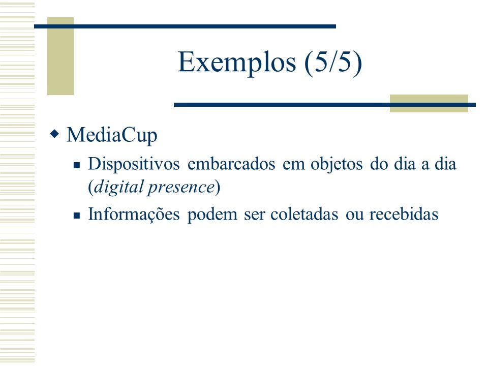 Exemplos (5/5) MediaCup Dispositivos embarcados em objetos do dia a dia (digital presence) Informações podem ser coletadas ou recebidas