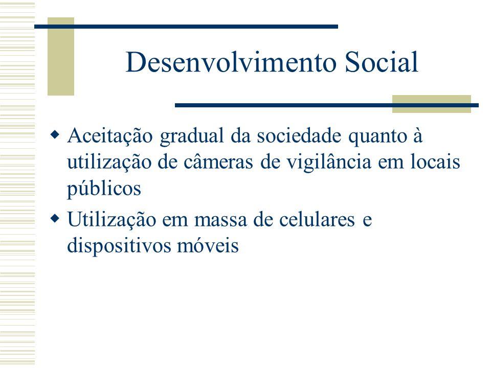 Desenvolvimento Social Aceitação gradual da sociedade quanto à utilização de câmeras de vigilância em locais públicos Utilização em massa de celulares e dispositivos móveis