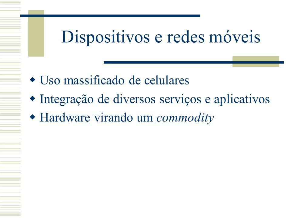 Dispositivos e redes móveis Uso massificado de celulares Integração de diversos serviços e aplicativos Hardware virando um commodity