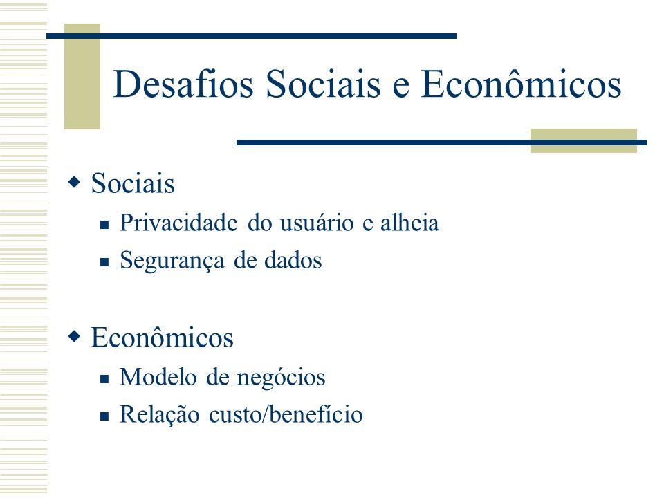 Desafios Sociais e Econômicos Sociais Privacidade do usuário e alheia Segurança de dados Econômicos Modelo de negócios Relação custo/benefício