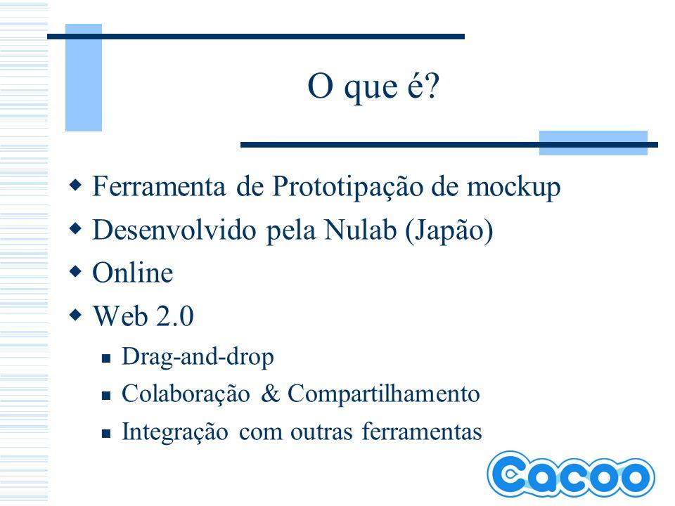 O que é? Ferramenta de Prototipação de mockup Desenvolvido pela Nulab (Japão) Online Web 2.0 Drag-and-drop Colaboração & Compartilhamento Integração c