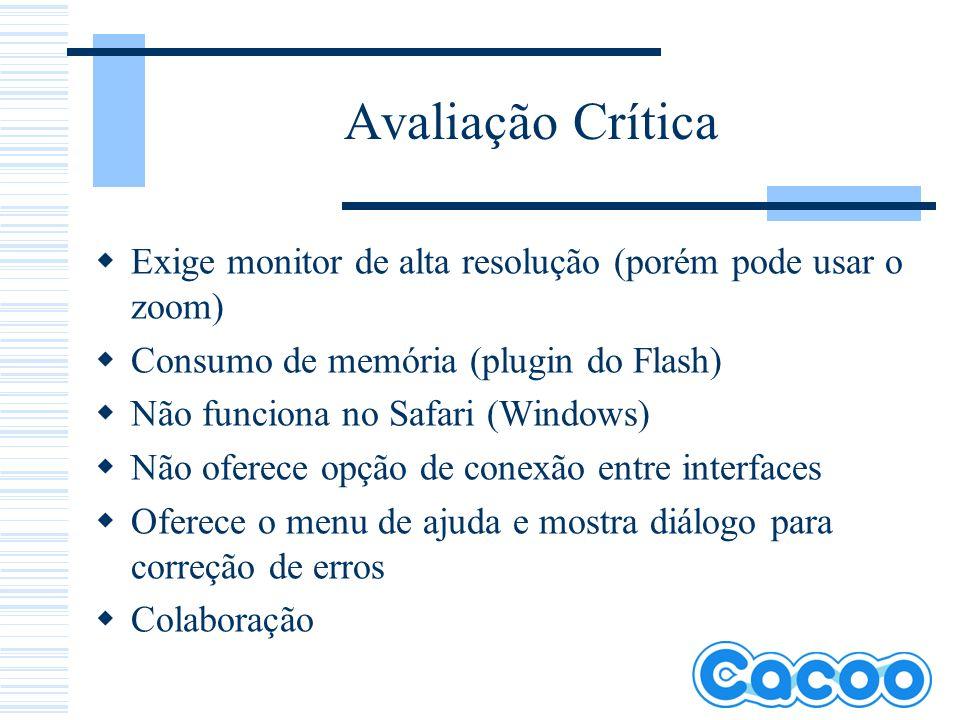Avaliação Crítica Exige monitor de alta resolução (porém pode usar o zoom) Consumo de memória (plugin do Flash) Não funciona no Safari (Windows) Não o