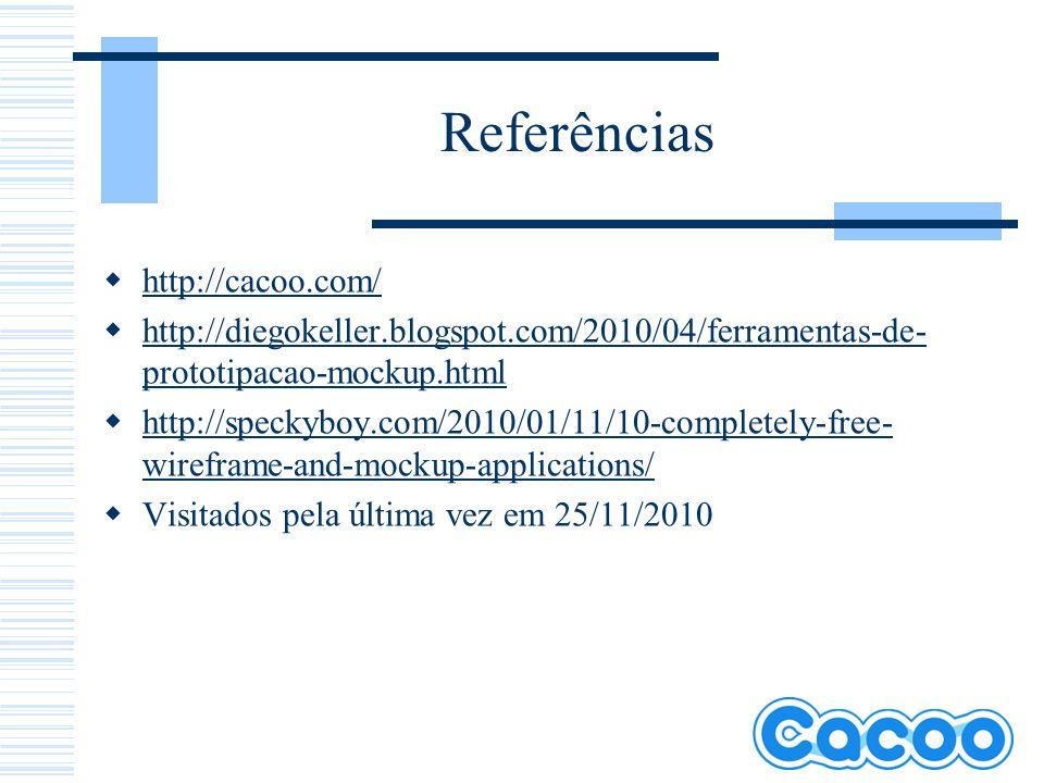 Referências http://cacoo.com/ http://diegokeller.blogspot.com/2010/04/ferramentas-de- prototipacao-mockup.html http://diegokeller.blogspot.com/2010/04