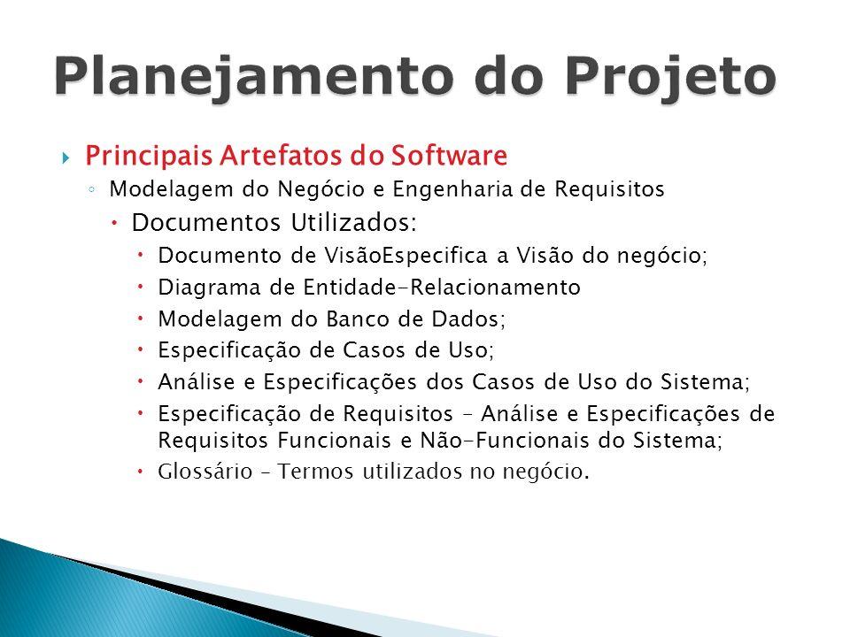Principais Artefatos do Software Modelagem do Negócio e Engenharia de Requisitos Documentos Utilizados: Documento de VisãoEspecifica a Visão do negóci
