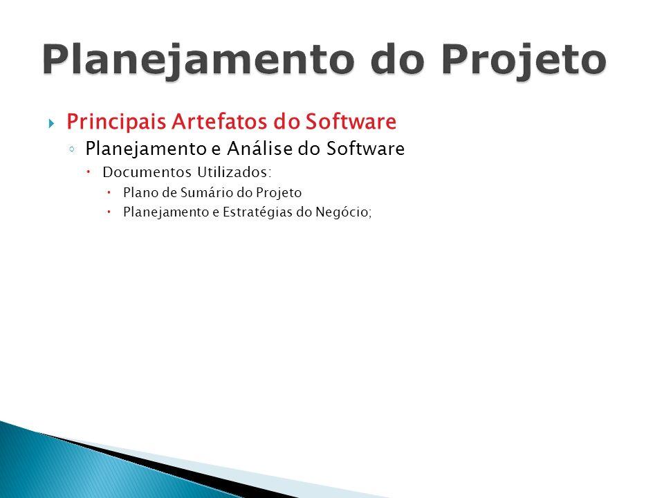 Principais Artefatos do Software Planejamento e Análise do Software Documentos Utilizados: Plano de Sumário do Projeto Planejamento e Estratégias do N