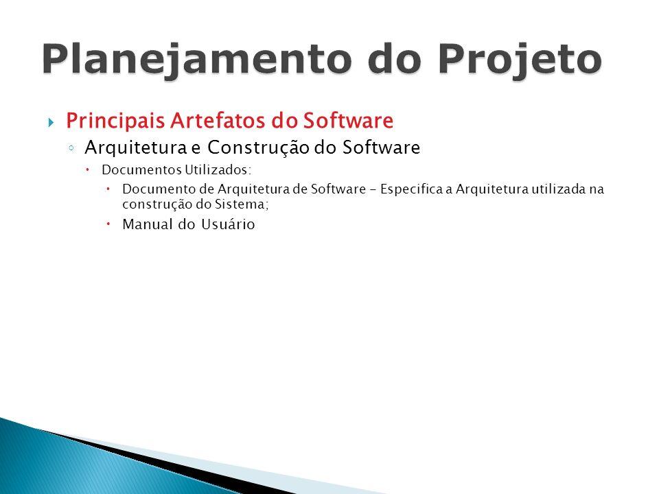 Principais Artefatos do Software Arquitetura e Construção do Software Documentos Utilizados: Documento de Arquitetura de Software - Especifica a Arqui