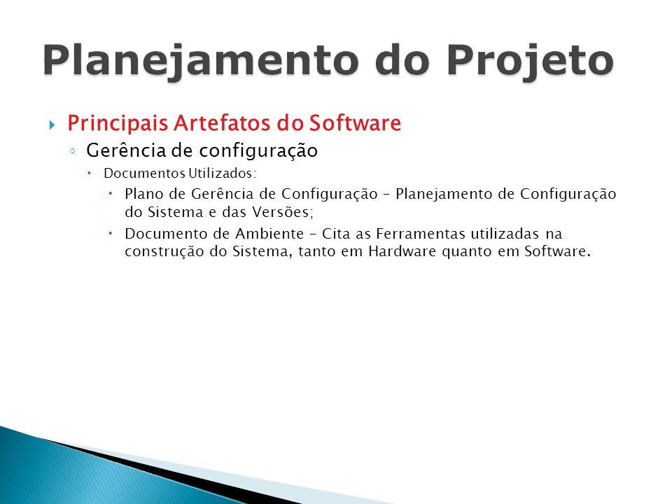 Principais Artefatos do Software Gerência de configuração Documentos Utilizados: Plano de Gerência de Configuração – Planejamento de Configuração do S
