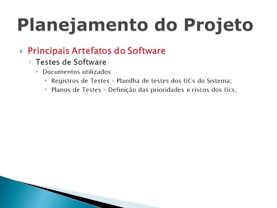 Principais Artefatos do Software Testes de Software Documentos utilizados: Registros de Testes – Planilha de testes dos UCs do Sistema; Planos de Test