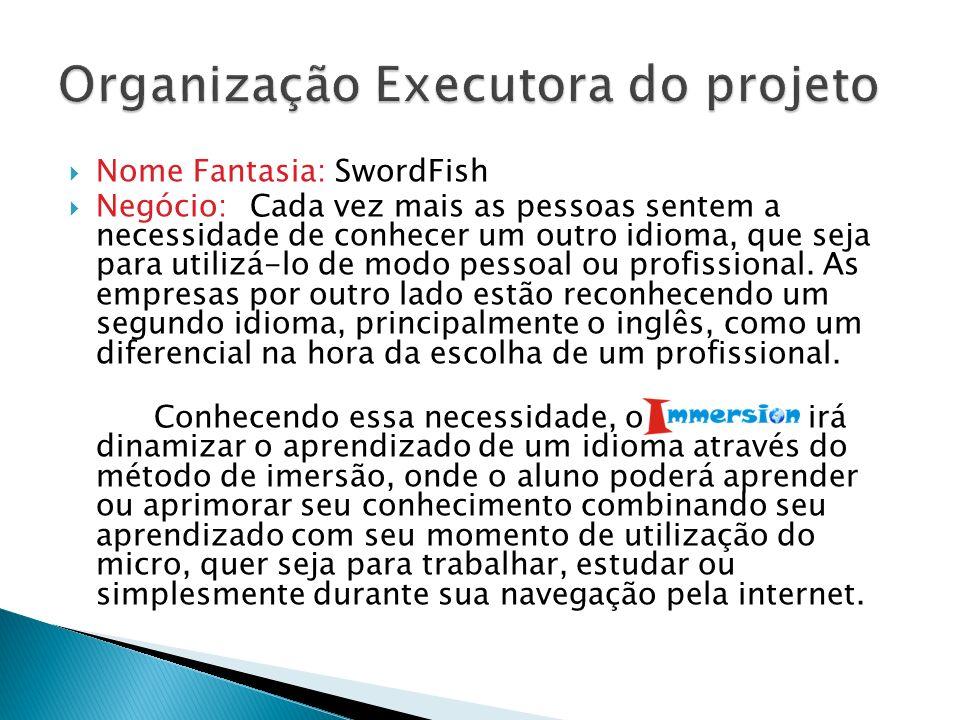 Nome Fantasia: SwordFish Negócio: Cada vez mais as pessoas sentem a necessidade de conhecer um outro idioma, que seja para utilizá-lo de modo pessoal