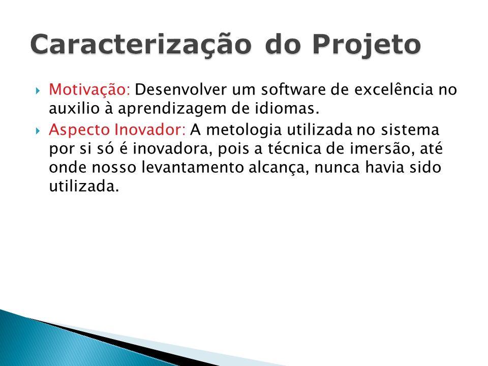 Motivação: Desenvolver um software de excelência no auxilio à aprendizagem de idiomas. Aspecto Inovador: A metologia utilizada no sistema por si só é