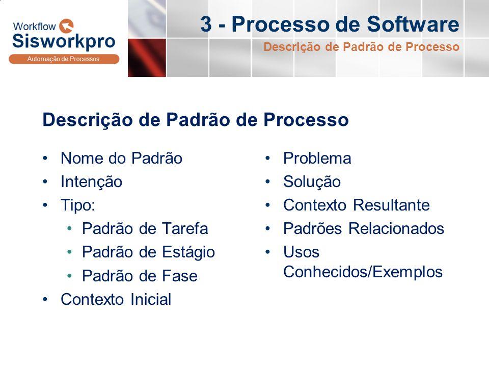 3 - Processo de Software Descrição de Padrão de Processo Nome do Padrão Intenção Tipo: Padrão de Tarefa Padrão de Estágio Padrão de Fase Contexto Inic