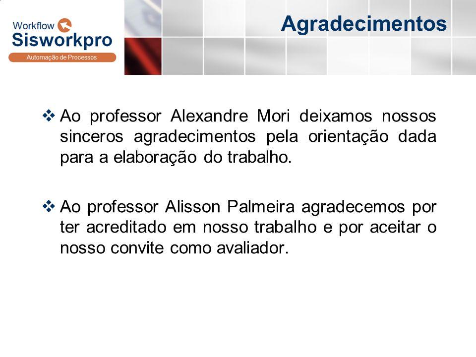 Agradecimentos Ao professor Alexandre Mori deixamos nossos sinceros agradecimentos pela orientação dada para a elaboração do trabalho. Ao professor Al