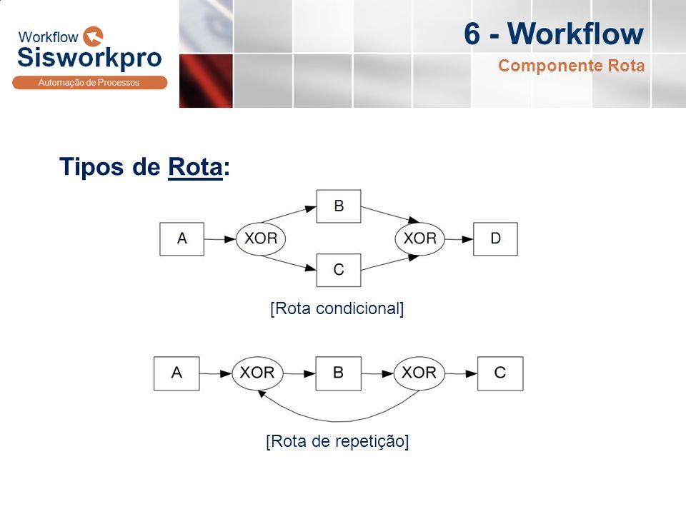 6 - Workflow Tipos de Rota: Componente Rota [Rota condicional] [Rota de repetição]