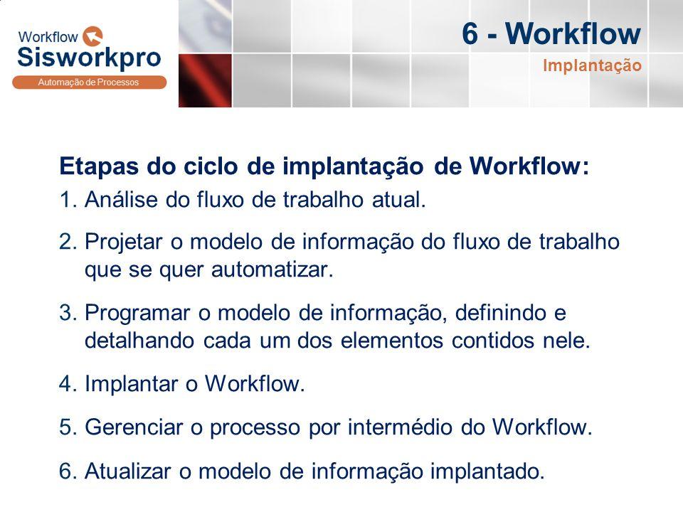 6 - Workflow Etapas do ciclo de implantação de Workflow: 1.Análise do fluxo de trabalho atual. 2.Projetar o modelo de informação do fluxo de trabalho