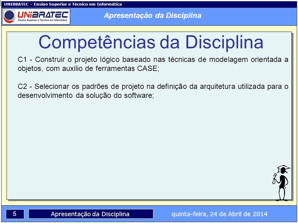 UNIBRATEC – Ensino Superior e Técnico em Informática 5 Apresentação da Disciplina quinta-feira, 24 de Abril de 2014 C1 - Construir o projeto lógico ba
