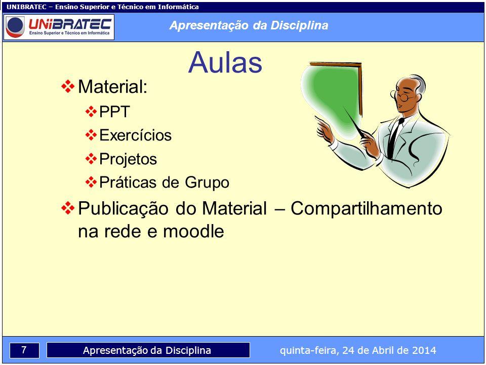 UNIBRATEC – Ensino Superior e Técnico em Informática 7 Apresentação da Disciplina quinta-feira, 24 de Abril de 2014 Aulas Material: PPT Exercícios Pro