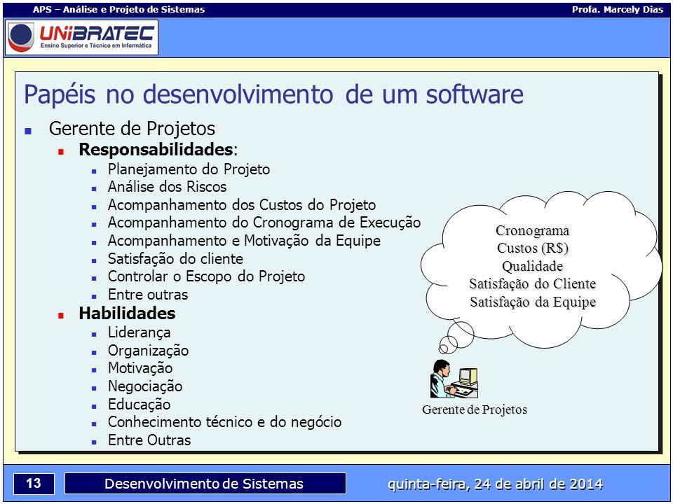 13 APS – Análise e Projeto de Sistemas Profa. Marcely Dias Desenvolvimento de Sistemas quinta-feira, 24 de abril de 2014 Papéis no desenvolvimento de