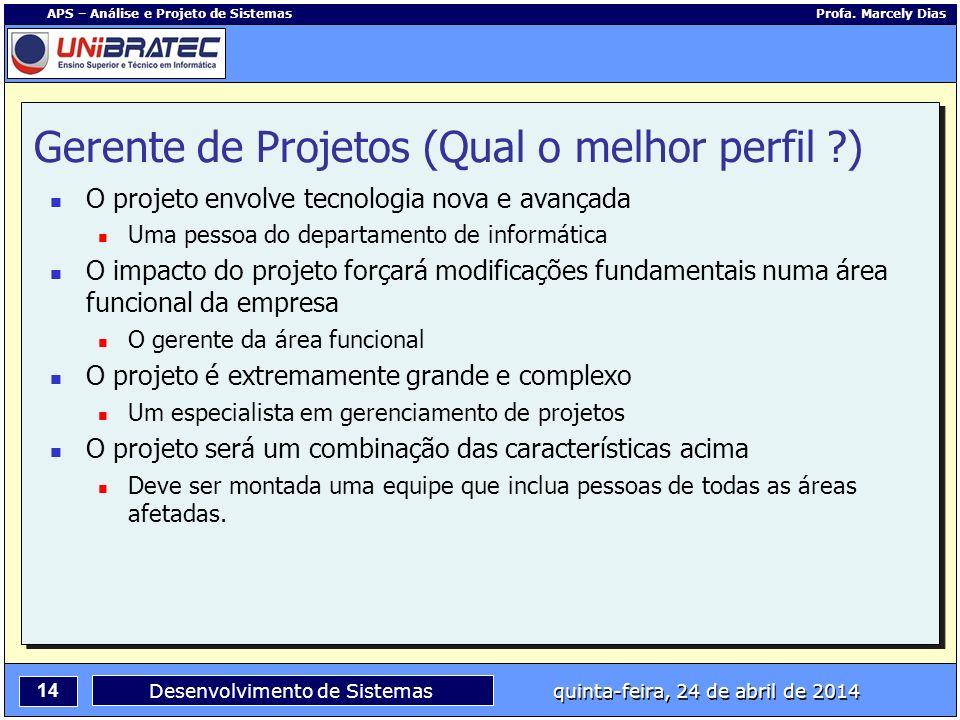 14 APS – Análise e Projeto de Sistemas Profa. Marcely Dias Desenvolvimento de Sistemas quinta-feira, 24 de abril de 2014 Gerente de Projetos (Qual o m