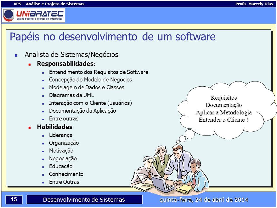 15 APS – Análise e Projeto de Sistemas Profa. Marcely Dias Desenvolvimento de Sistemas quinta-feira, 24 de abril de 2014 Analista de Sistemas/Negócios
